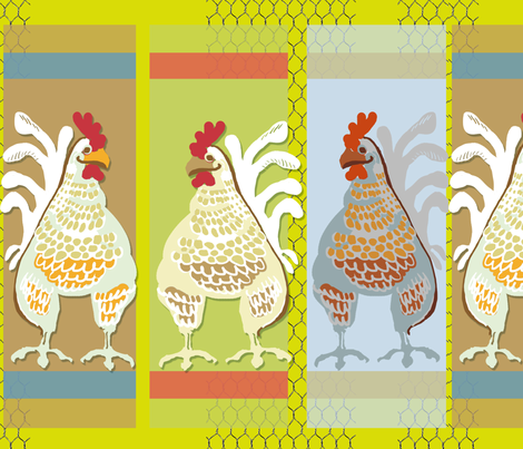 Pop Art Chicken Coop fabric by wren_leyland on Spoonflower - custom fabric