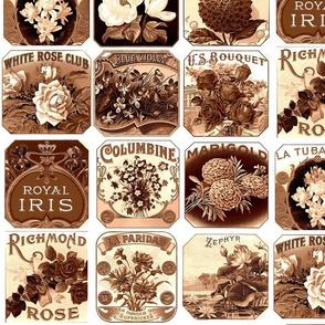 Vintage Floral Labels - Sepia