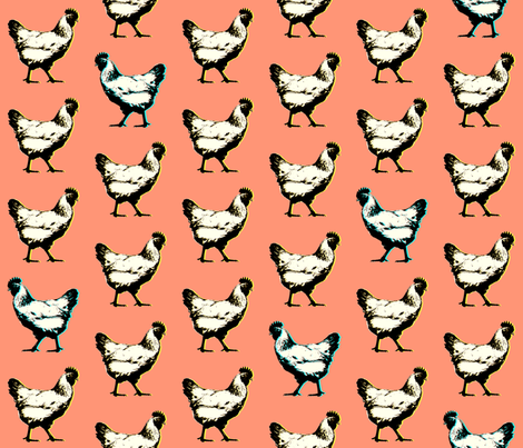 pop art chickens : coral fabric by muchoxoxo on Spoonflower - custom fabric