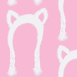 Bear Hat-pink & white