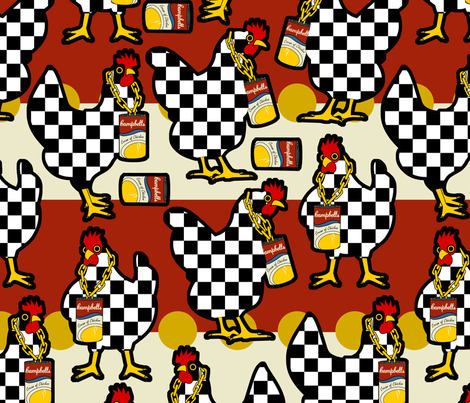 Pop Art Chickens fabric by thirdhalfstudios on Spoonflower - custom fabric