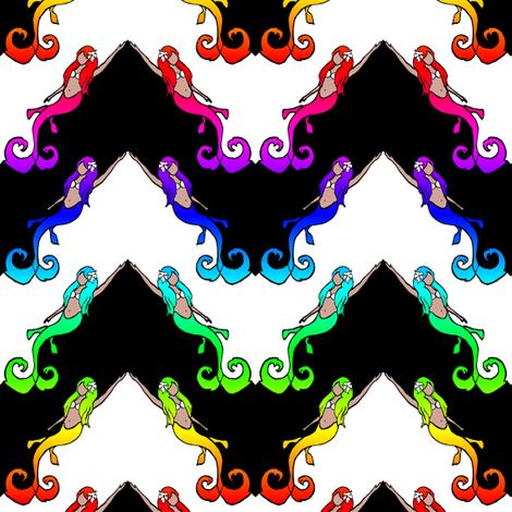 Mermaid Chevron fabric by pond_ripple on Spoonflower - custom fabric