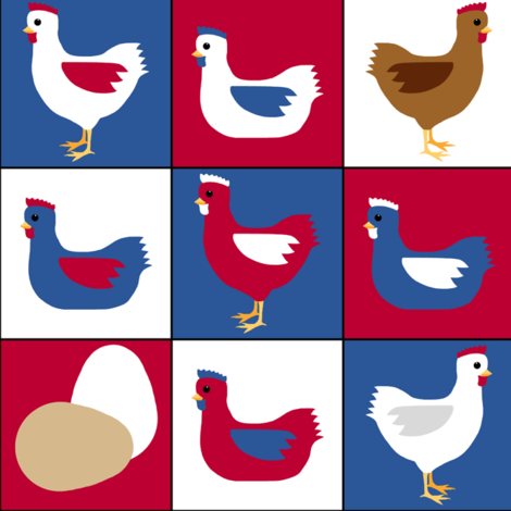pop art patriot chickens in red, white , and blue fabric by victorialasher on Spoonflower - custom fabric