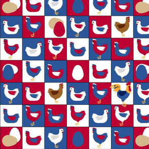 pop art patriot chickens in red, white , and blue