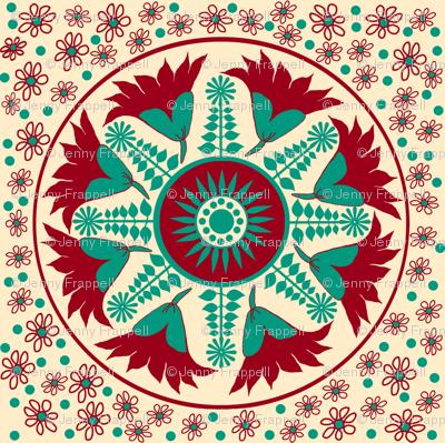 Regency embroidery pattern for linen lounge cushion © Indigodaze 2013