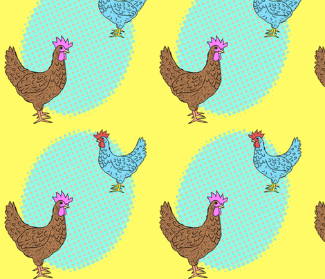Pop art in the chickens fabric by lucybaribeau on Spoonflower - custom fabric