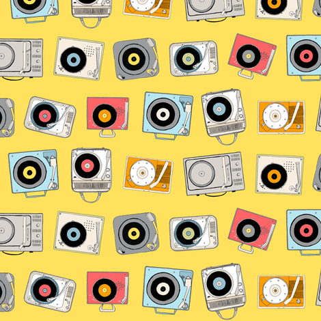 Hi-Fi (Yellow)    vintage retro stereo record player records dj vinyl analog music 60s 70s 80s fabric by pennycandy on Spoonflower - custom fabric