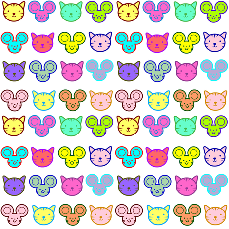 Cat 'n' Mouse fabric by ravynscache on Spoonflower - custom fabric