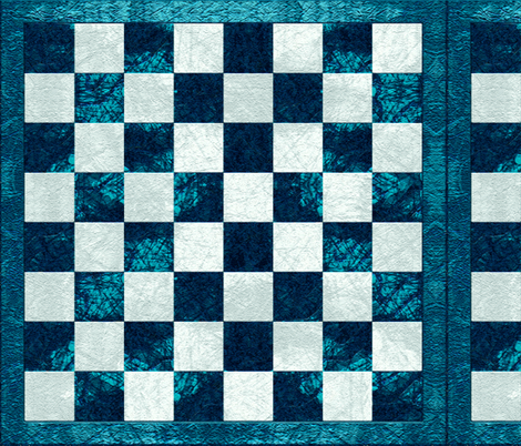 Chess Board Marbled Teal fabric by wren_leyland on Spoonflower - custom fabric