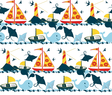 HIPPIE SHIPS fabric by bluevelvet on Spoonflower - custom fabric