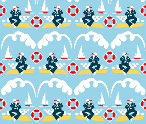 Anchors Aweigh! - all up one way! fabric by moirarae on Spoonflower - custom fabric