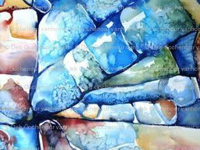 blue watercolor church window