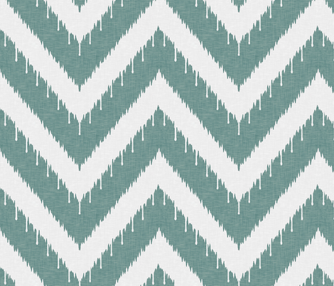 Teal Beaded Chevron Ikat fabric by willowlanetextiles on Spoonflower - custom fabric