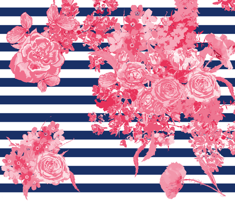 bouquet large navy stripe fabric by katarina on Spoonflower - custom fabric