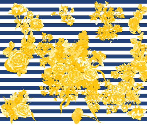 bouquet yellow large navy stripe fabric by katarina on Spoonflower - custom fabric