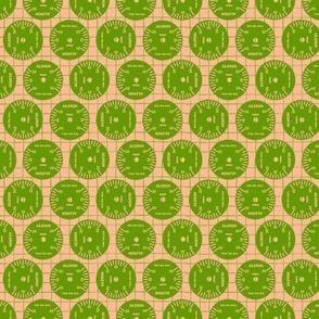Large Aileron Dots in Green on Orange
