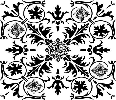 Geek Chic_QR Code Kaleidoscope_large repeat fabric by kfrogb on Spoonflower - custom fabric