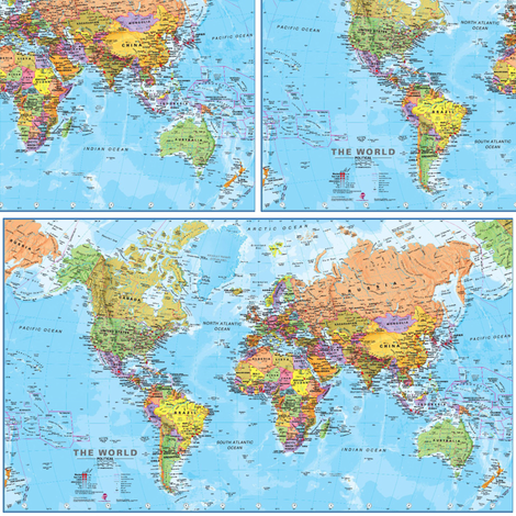 World Map Fabric Blue fabric by sleepymountain on Spoonflower - custom fabric