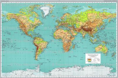 1970 World Map Fabric