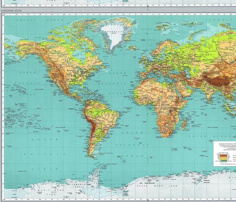 1970 World Map Fabric fabric by sleepymountain on Spoonflower - custom fabric