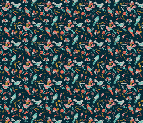 Bloom Birds MINI fabric by bethan_janine on Spoonflower - custom fabric