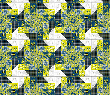 Picket Fence Fireflies Synergy0001 fabric by eclectic_house on Spoonflower - custom fabric