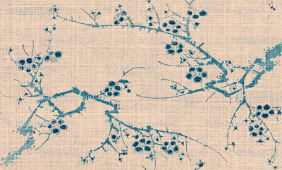 cherry blossom time - blue ink, pink