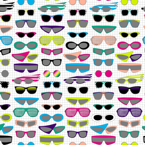 Shades || retro 80s vintage sunglasses glasses fashion neon nerd geek punk emo new wave fabric by pennycandy on Spoonflower - custom fabric