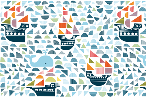 whale and 4 ships  fabric by dennisthebadger on Spoonflower - custom fabric