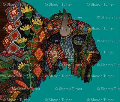 bison teal fat quarter panel