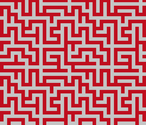 Maze - Red and Gray fabric by telden on Spoonflower - custom fabric