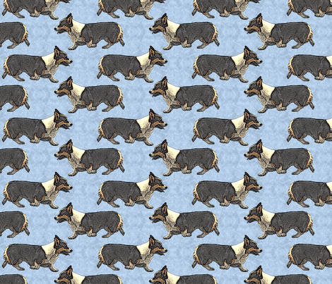 Trotting tri Pemmies - blue fabric by rusticcorgi on Spoonflower - custom fabric