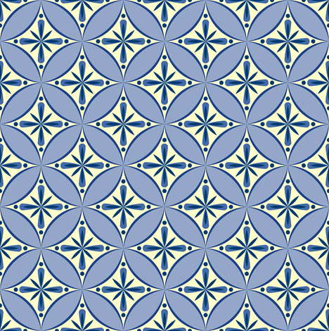 Moroccan Tiles 2 - blue-violet and cream2 fabric by shannonmac on Spoonflower - custom fabric
