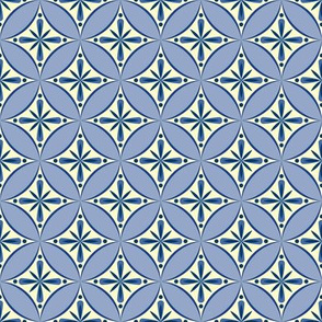 Moroccan Tiles 2 - blue-violet and cream2