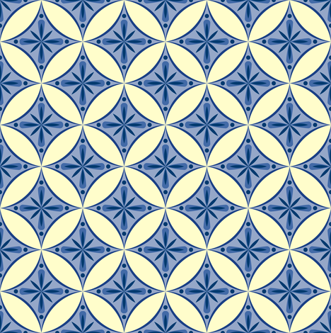 Moroccan Tiles 2 - blue-violet and cream fabric by shannonmac on Spoonflower - custom fabric