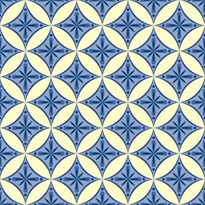 Moroccan Tiles 2 - blue-violet and cream