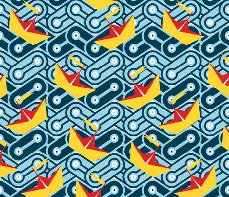 Chainlink Sea and Paper Boats fabric by thirdhalfstudios on Spoonflower - custom fabric