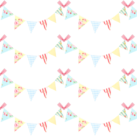 Birthday Bunting fabric by vintagegreenlimited on Spoonflower - custom fabric