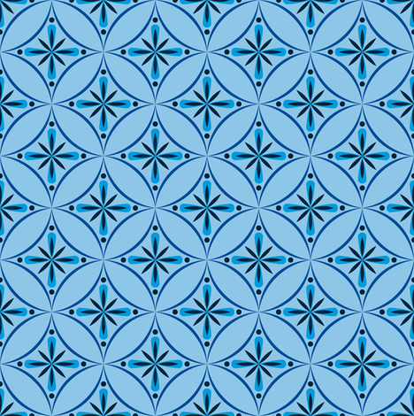 Moroccan Tiles 2 - Blue fabric by shannonmac on Spoonflower - custom fabric