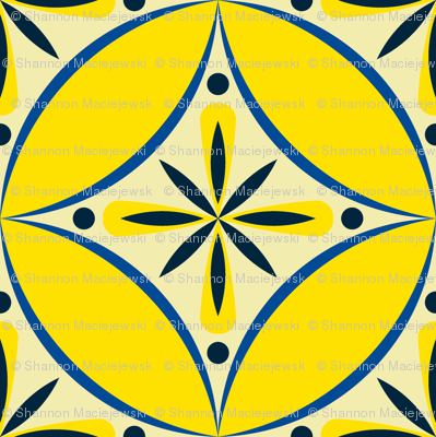 Moroccan Tiles 2 - blue-yellow