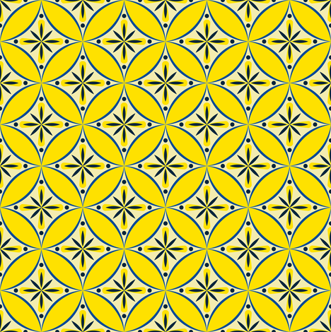 Moroccan Tiles 2 - blue-yellow fabric by shannonmac on Spoonflower - custom fabric