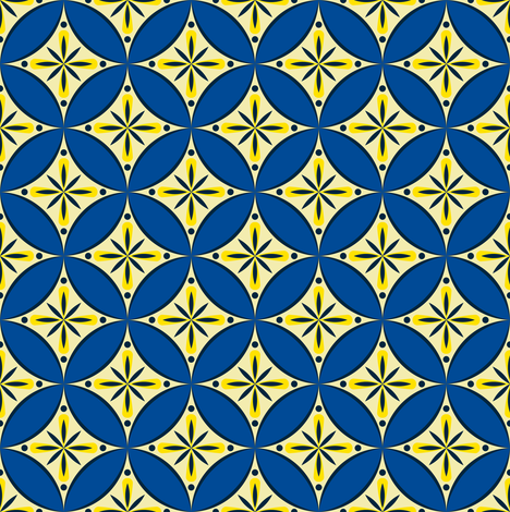 Moroccan Tiles 2 - blue-yellow3 fabric by shannonmac on Spoonflower - custom fabric