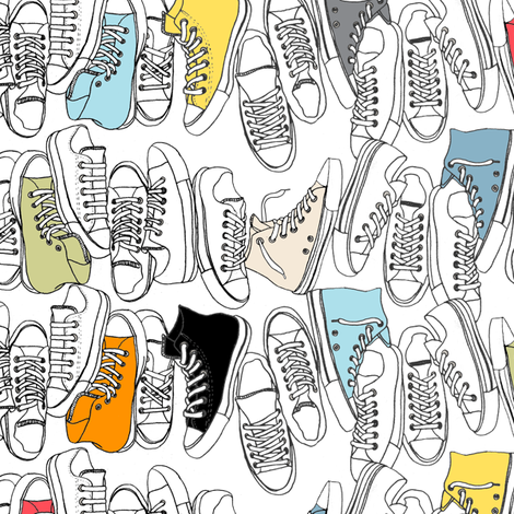 All-Stars || sneakers tennis shoes fashion sports converse geek chic punk emo fabric by pennycandy on Spoonflower - custom fabric