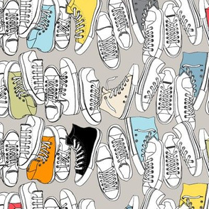 All-Stars (Gray) || sneakers tennis shoes fashion sports converse geek chic punk emo