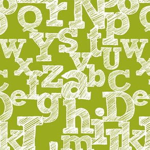 Sketched Alphabet on Green