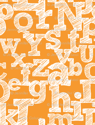 Sketched Alphabet on Orange