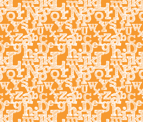 Sketched Alphabet on Orange fabric by jennifercolucci on Spoonflower - custom fabric