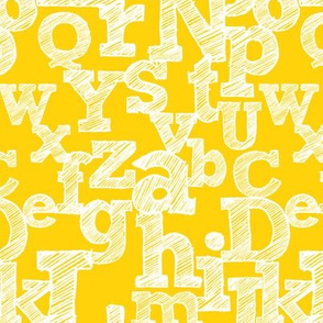 Sketched Alphabet on Yellow