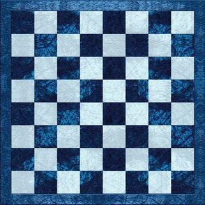 Blue Checker Chess Board