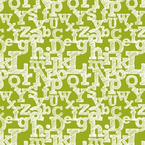 Small Sketched Alphabet on Green